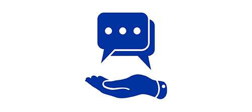 Blue icon of chat message exchange