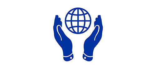Icon of hands protecting a globe