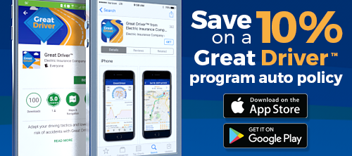 Save up to 10% on your car insurance with the Great Driver app.