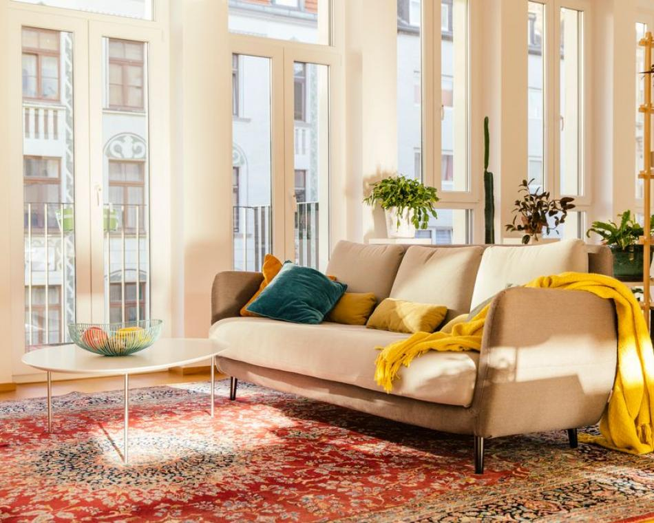 A bright sunny apartment  living room