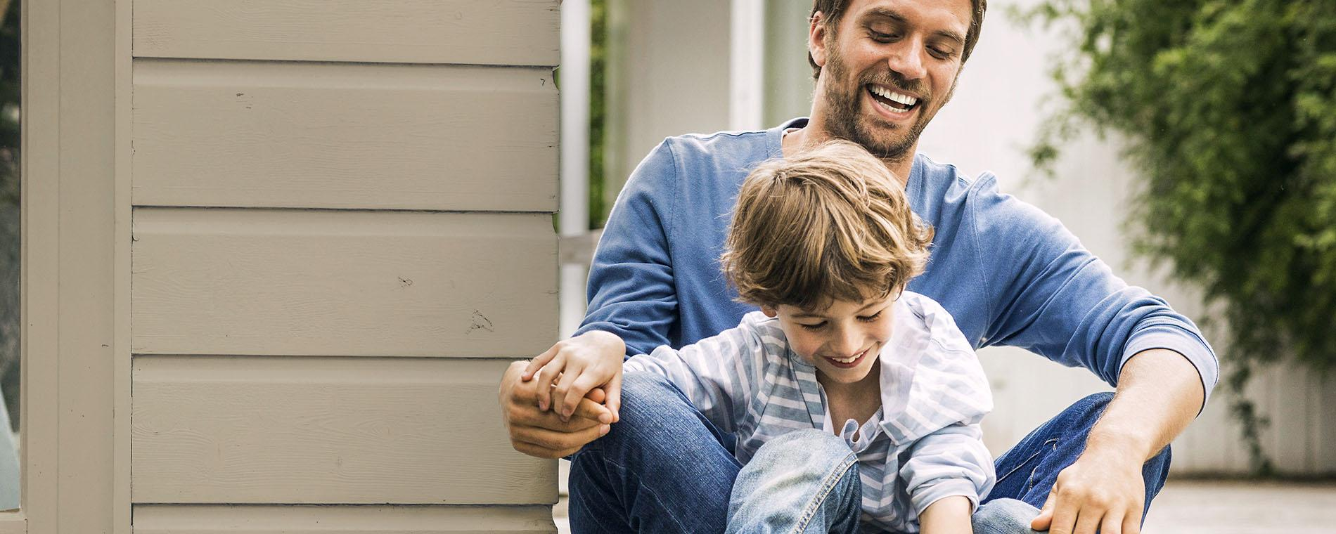 Father and son in house protected by good homeowners coverage