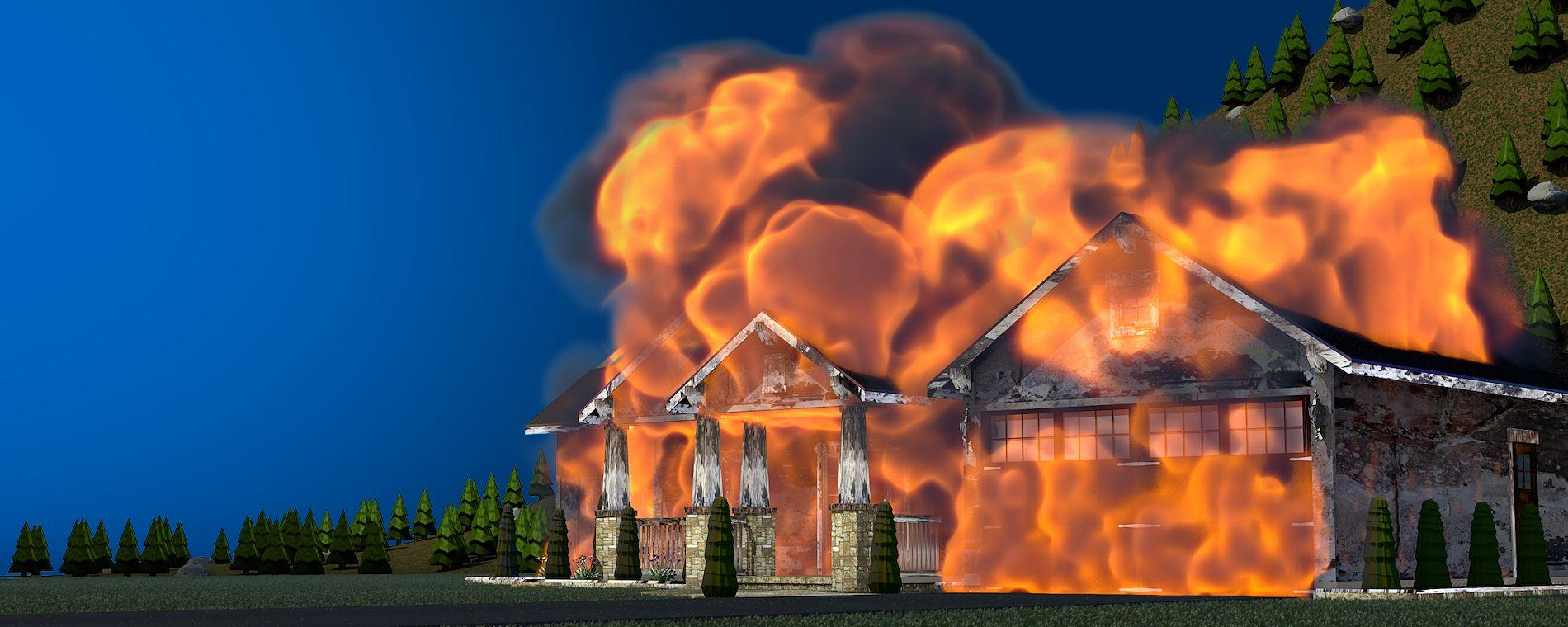 Graphic illustration of a house on fire