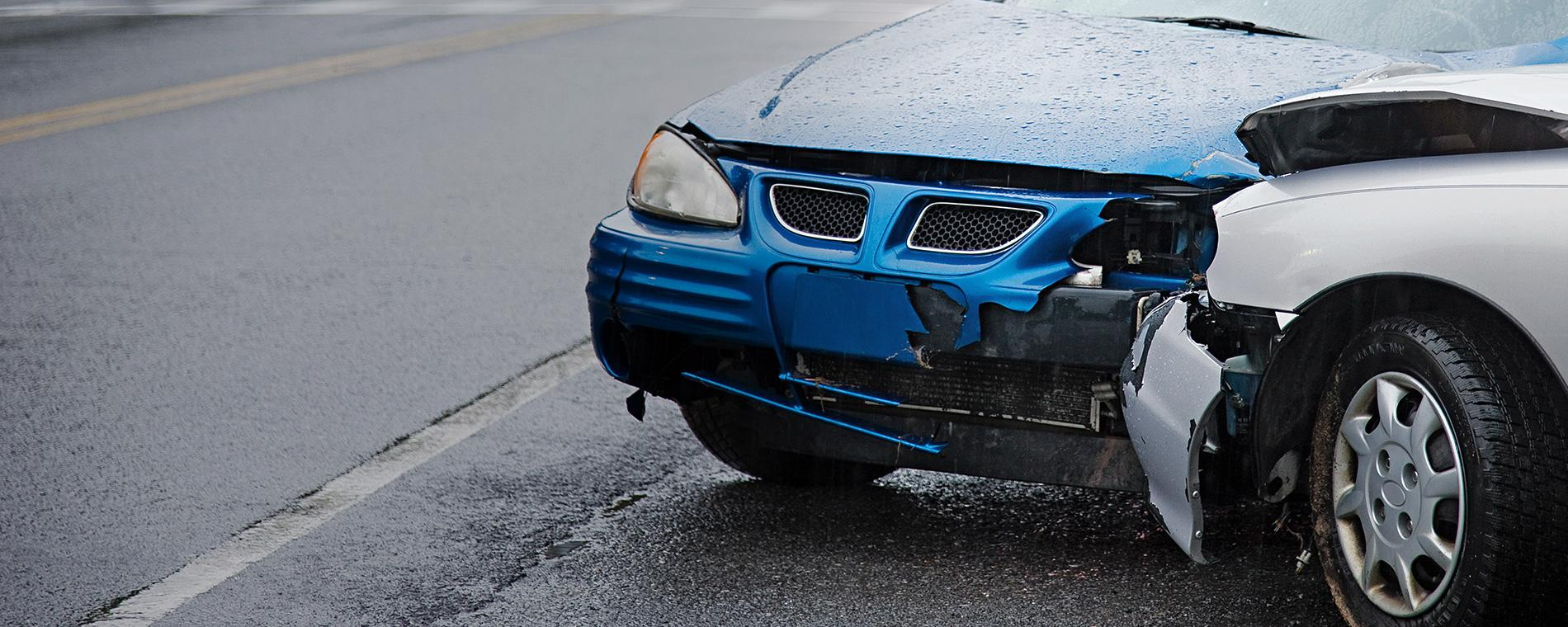 Damaged car with great auto insurance coverage