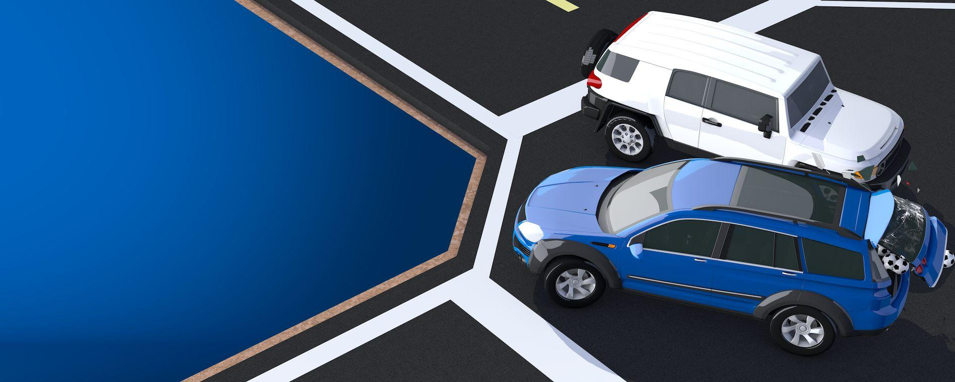Illustration of a blue car and a white car